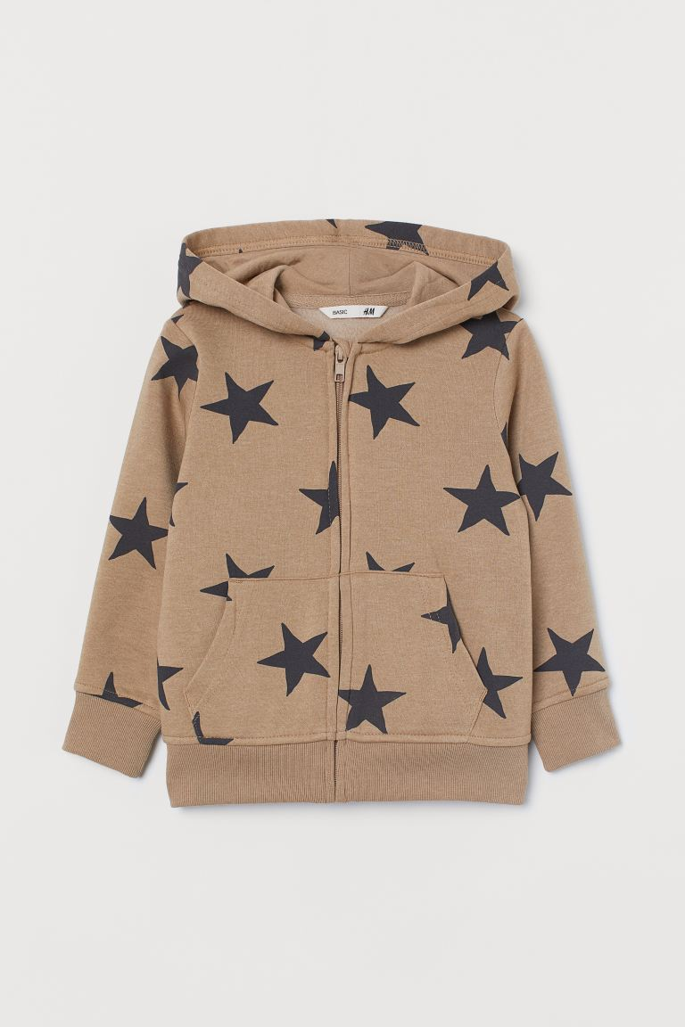 Hooded jacket - Beige/Stars - Kids | H&M GB