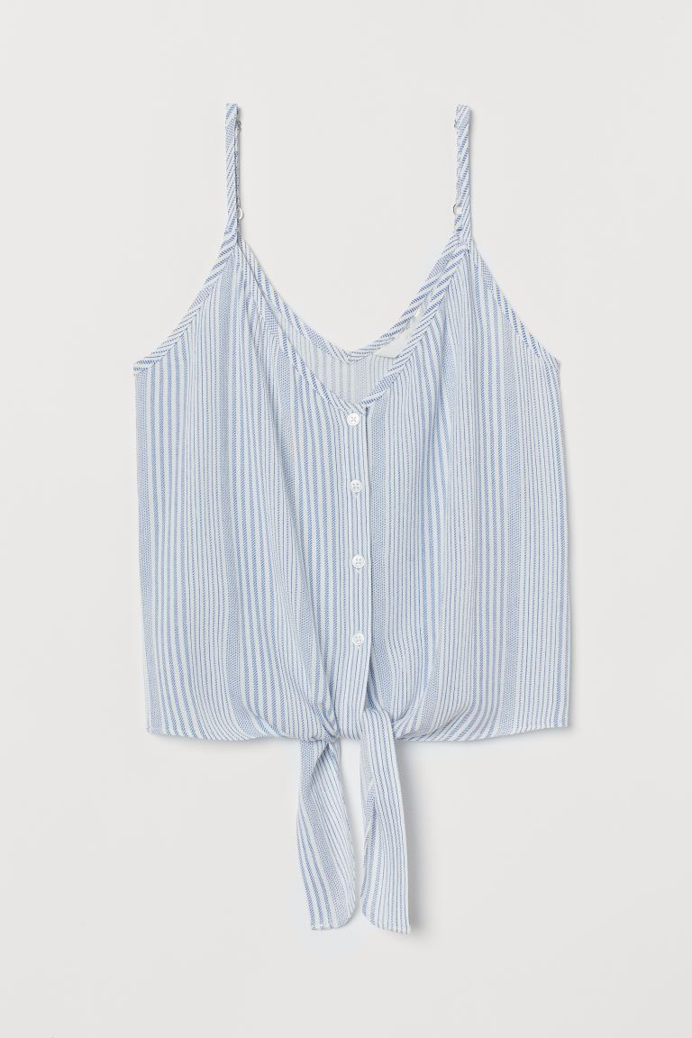 Tie-detail Camisole Top - Blue/white striped - Ladies | H&M US