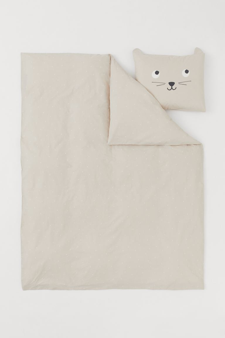 Set copripiumino in cotone - Beige/gatto - HOME | H&M IT