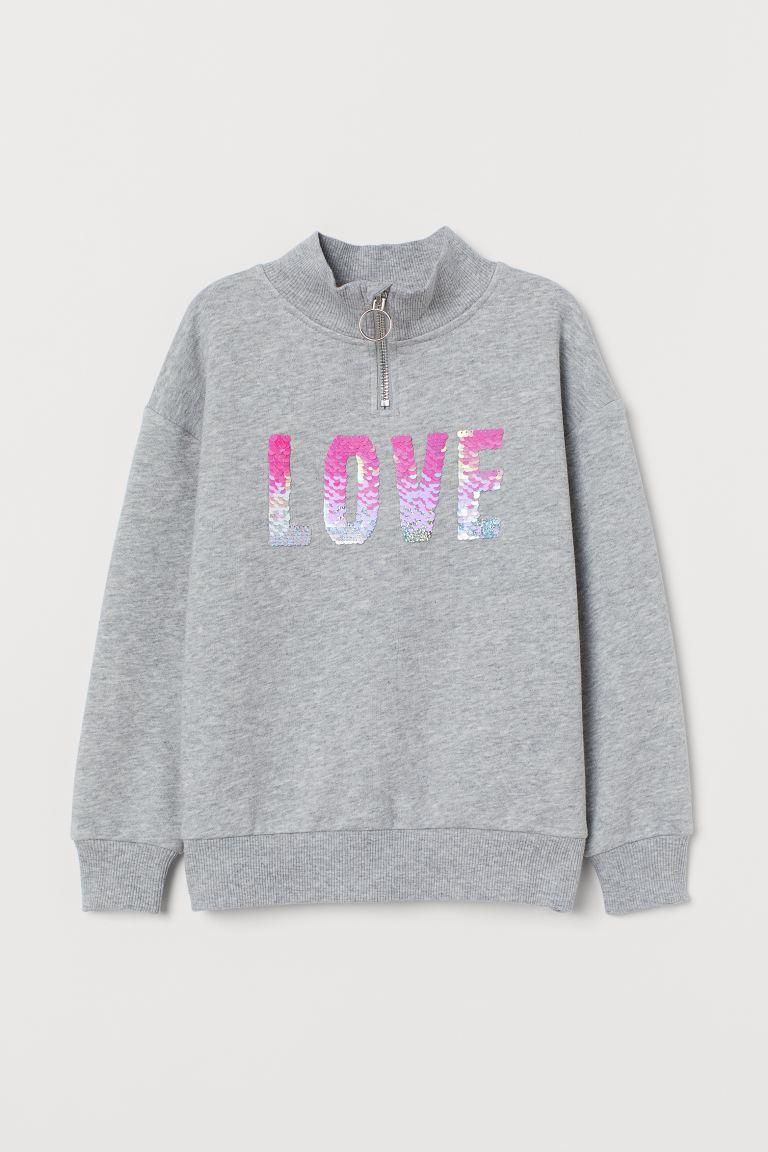 Sequin-motif sweatshirt - Grey marl/Love - Kids | H&M GB