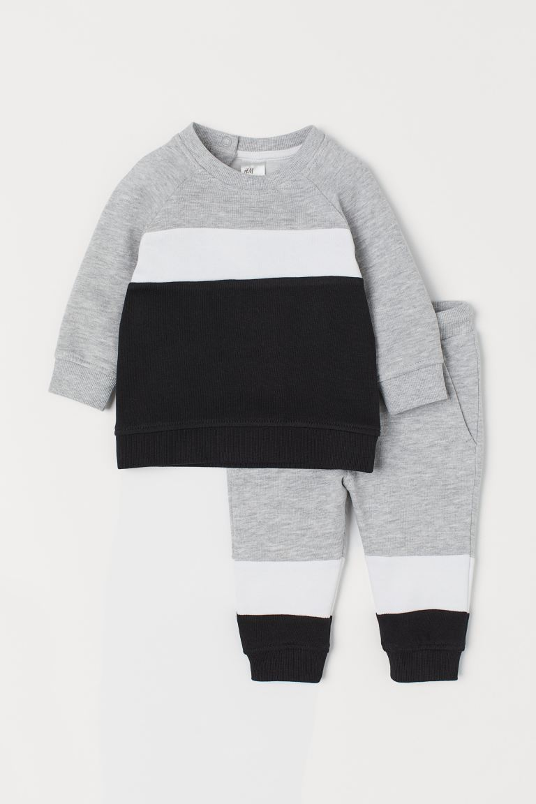 Sweat et pantalon jogger - Gris clair chiné/color block - ENFANT | H&M FR