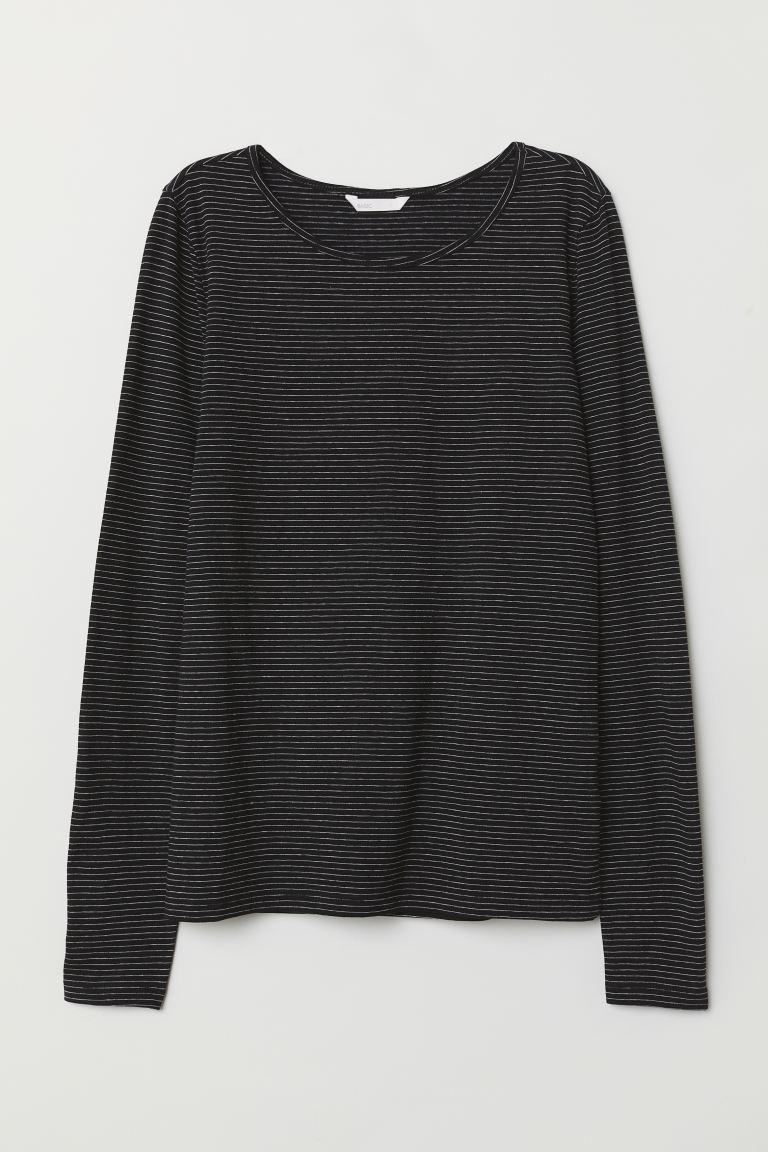 Long-sleeved jersey top - Black/Striped - Ladies | H&M