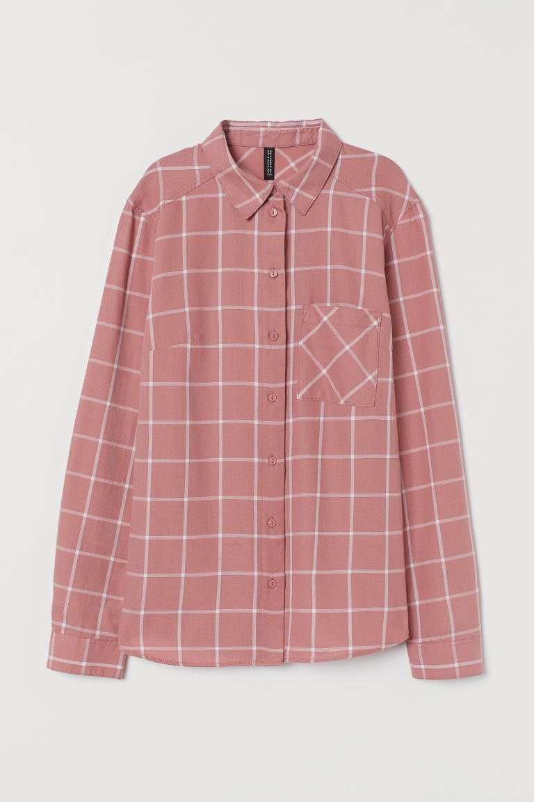 Cotton Shirt - Dusty rose/white checked - Ladies | H&M US