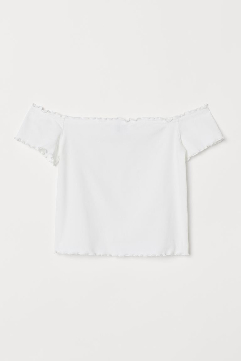 Kort off shoulder-topp - Vit - DAM | H&M SE