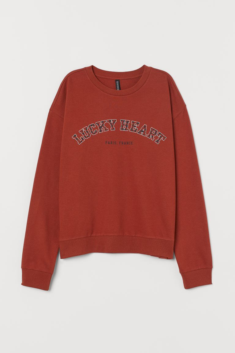 Sweatshirt - Rust brown/Lucky Heart - Ladies | H&M US