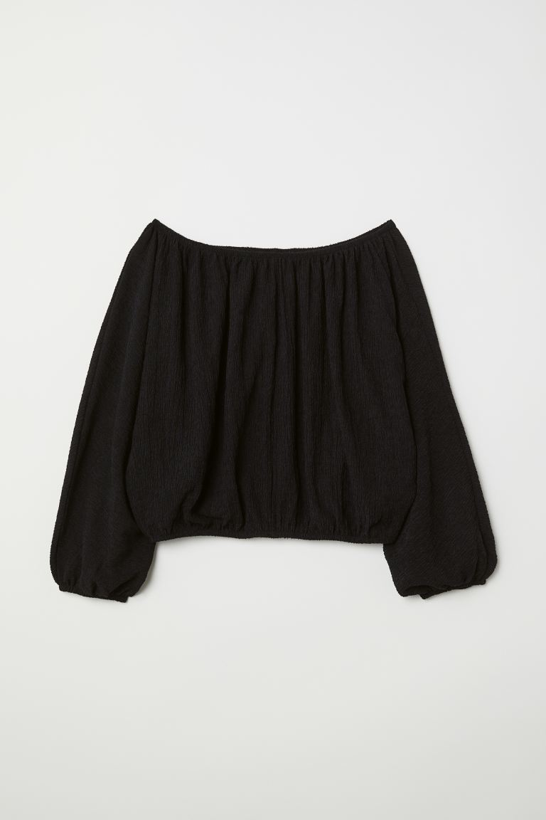 Off-the-shoulder blouse - Black - Ladies | H&M GB