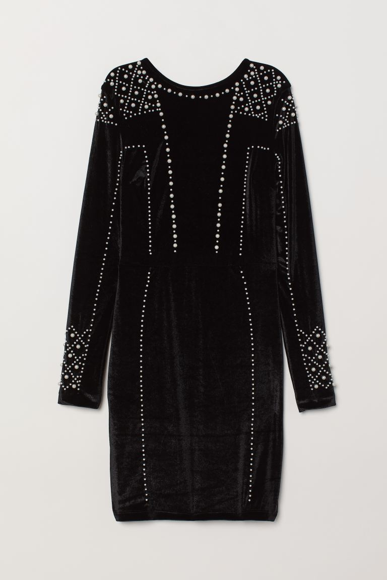 Velour Dress with Beads - Black - Ladies | H&M US