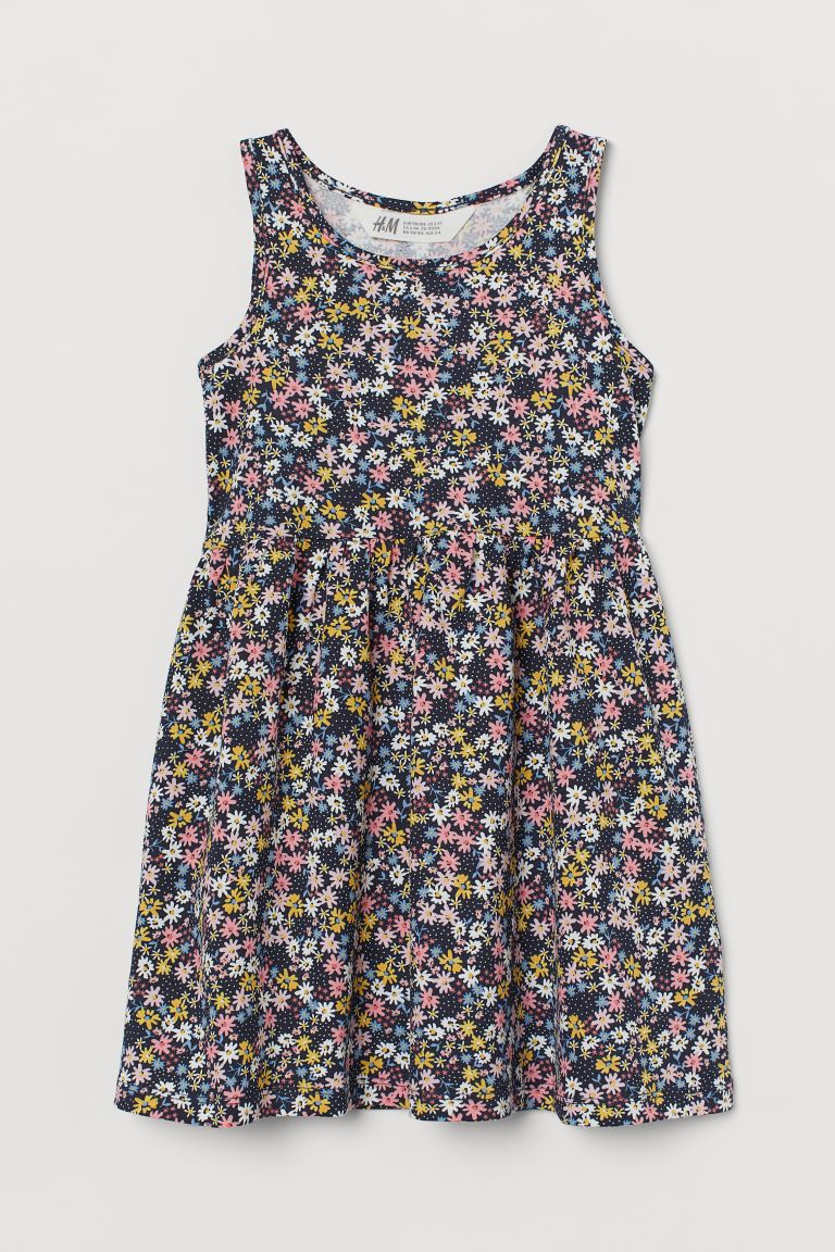 Patterned jersey dress - Dark blue/Floral -  | H&M