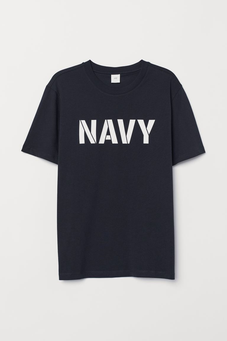 Printed T-shirt - Dark blue/Navy - Men | H&M IN