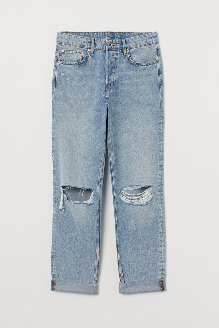 Boyfriend Regular Jeans - Bleu denim clair/Trashed - FEMME | H&M FR