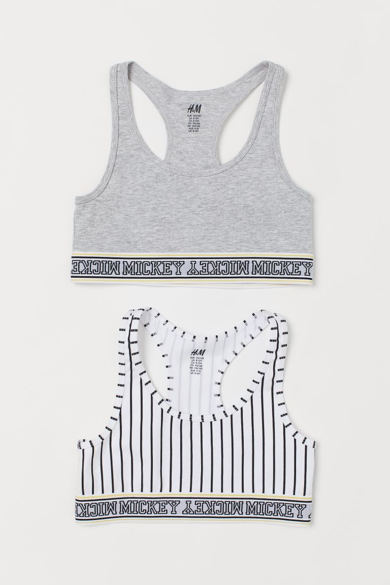 2-pack Tops - Gray melange/Mickey Mouse - Kids | H&M CA