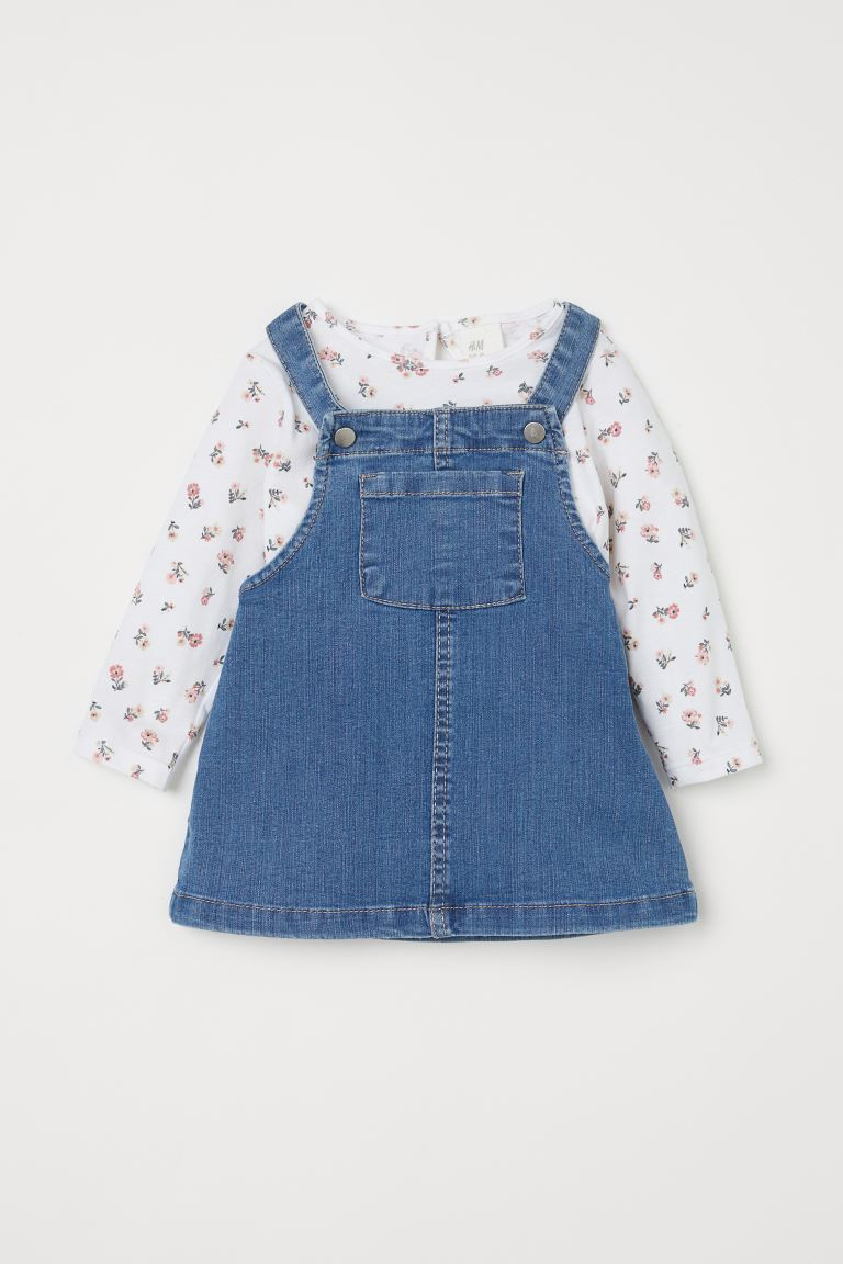 2-piece Set - Denim blue/floral - Kids | H&M CA