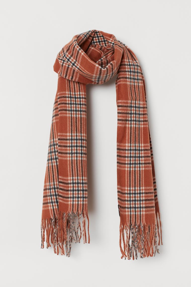 Checked Scarf - Rust brown/checked - Ladies | H&M US