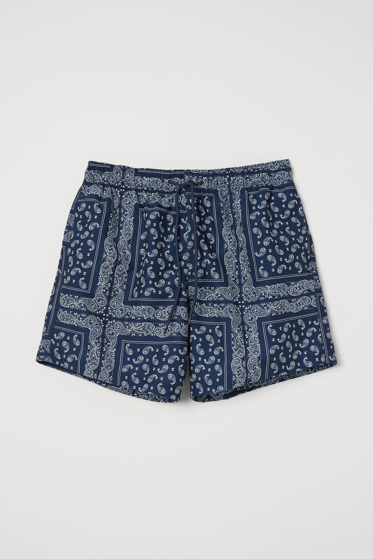 Shorts de baño estampados - Azul oscuro/Estampado paisley - Men | H&M US
