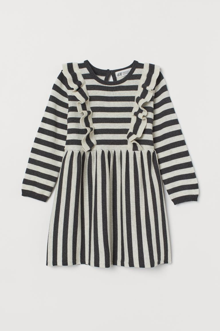 Fine-knit dress with frills - Dark grey/Striped - | H&M GB