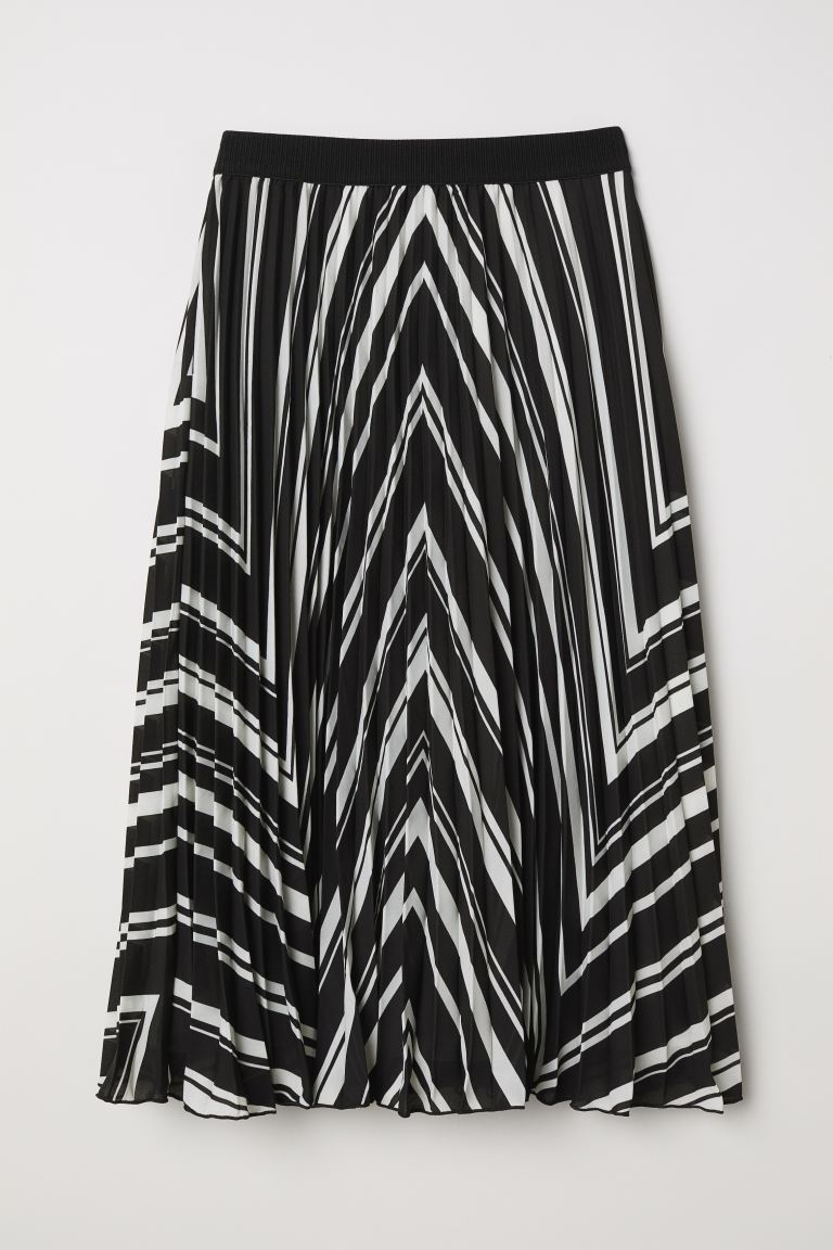 Pleated Skirt - Black/white striped - Ladies | H&M CA