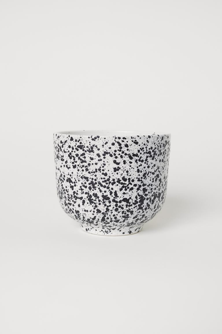 Stoneware Plant Pot - White/black speckled - Home All | H&M US