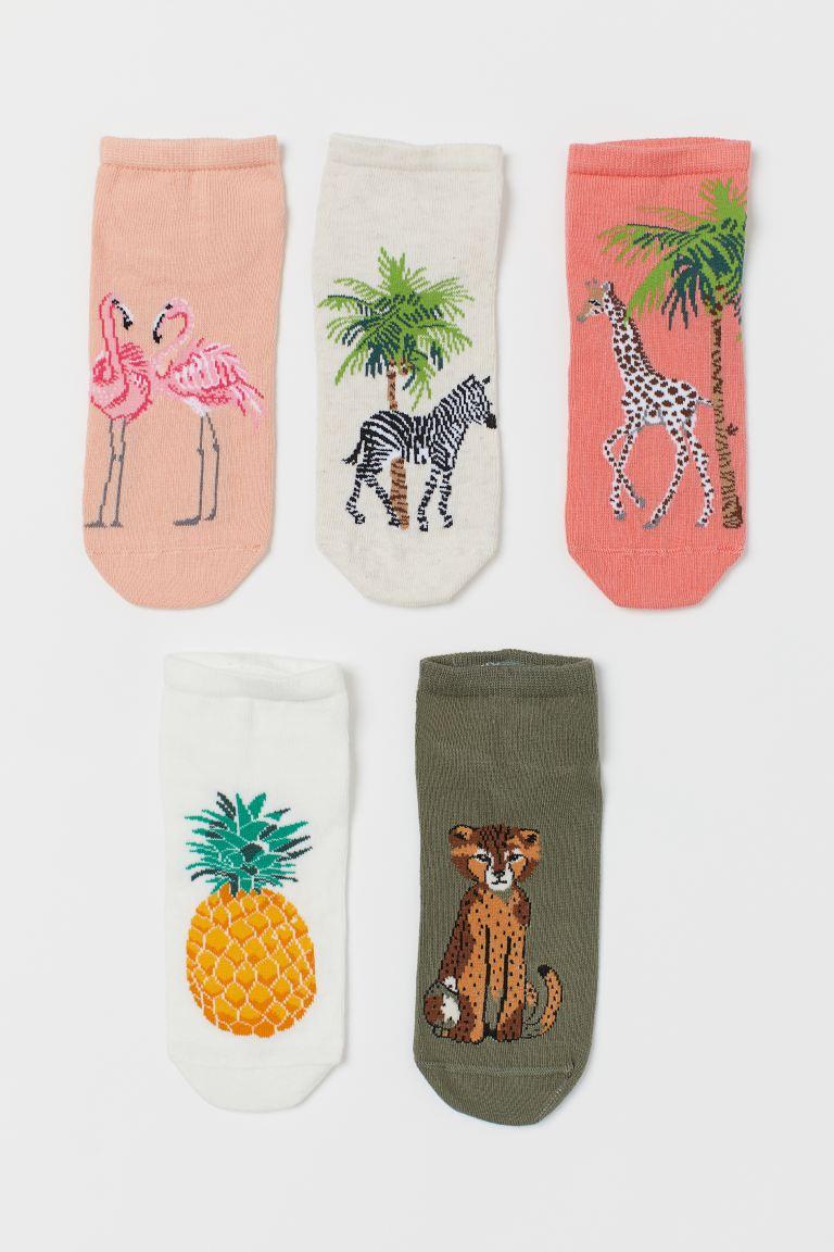 5-pack trainer socks - Coral/Animals - Kids | H&M GB