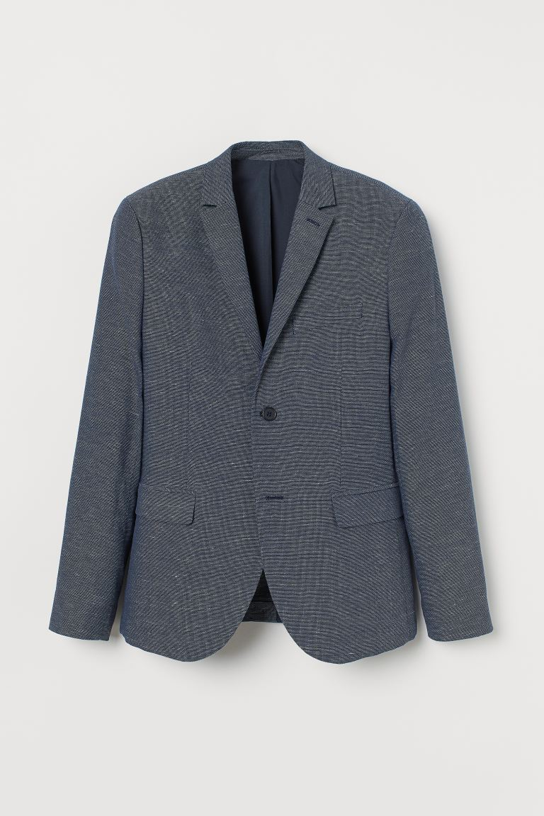 Blazer Slim Fit - Blu scuro mélange - UOMO | H&M IT