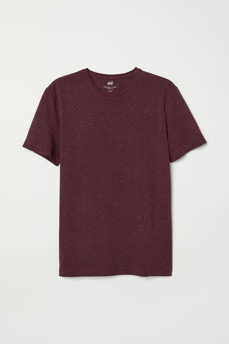 Round-necked T-shirt Slim Fit - Burgundy - Men | H&M