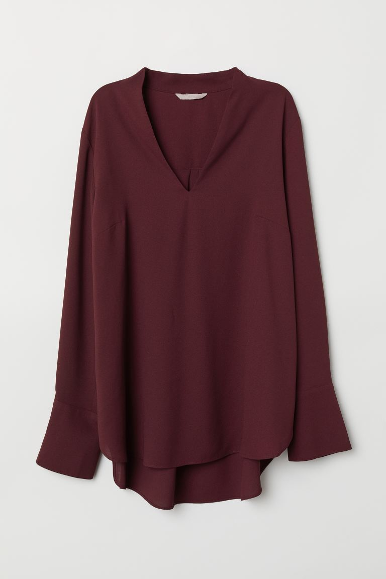 H&M+ V-neck blouse - Burgundy - Ladies | H&M IE