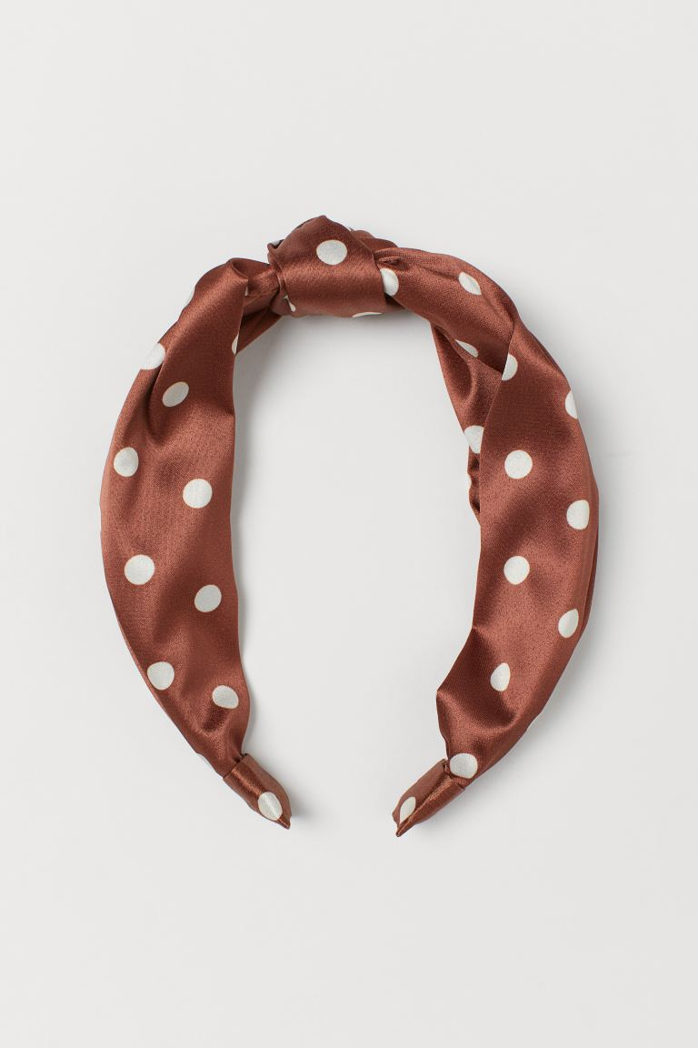 Hairband with Knot - Brown/white dotted - Ladies | H&M US