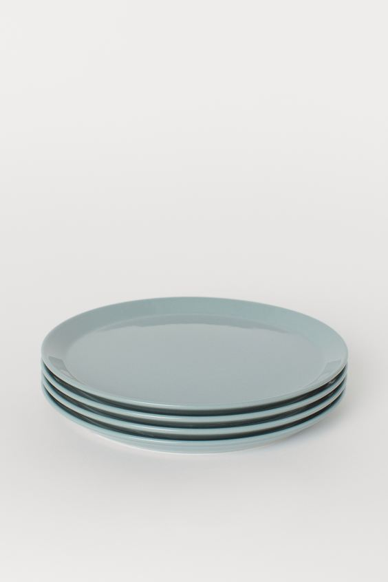 4-pack Ceramic Plates - Dusky green - Home All | H&M US 1