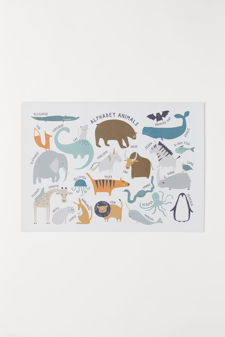 Poster - Blanc/animaux - Home All | H&M FR