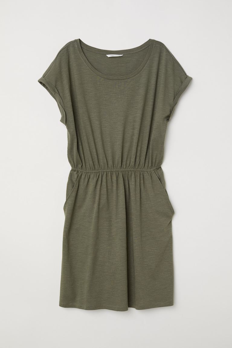 Jersey Dress - Khaki green - Ladies | H&M CA