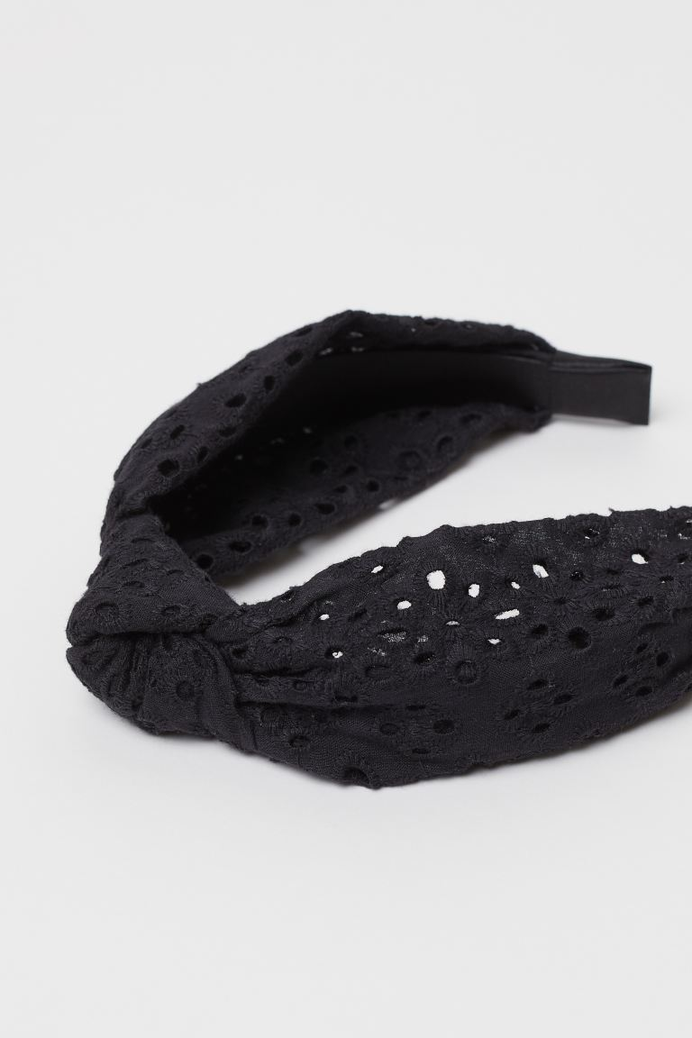 Alice band with a knot - Black/Broderie anglaise - Ladies | H&M GB