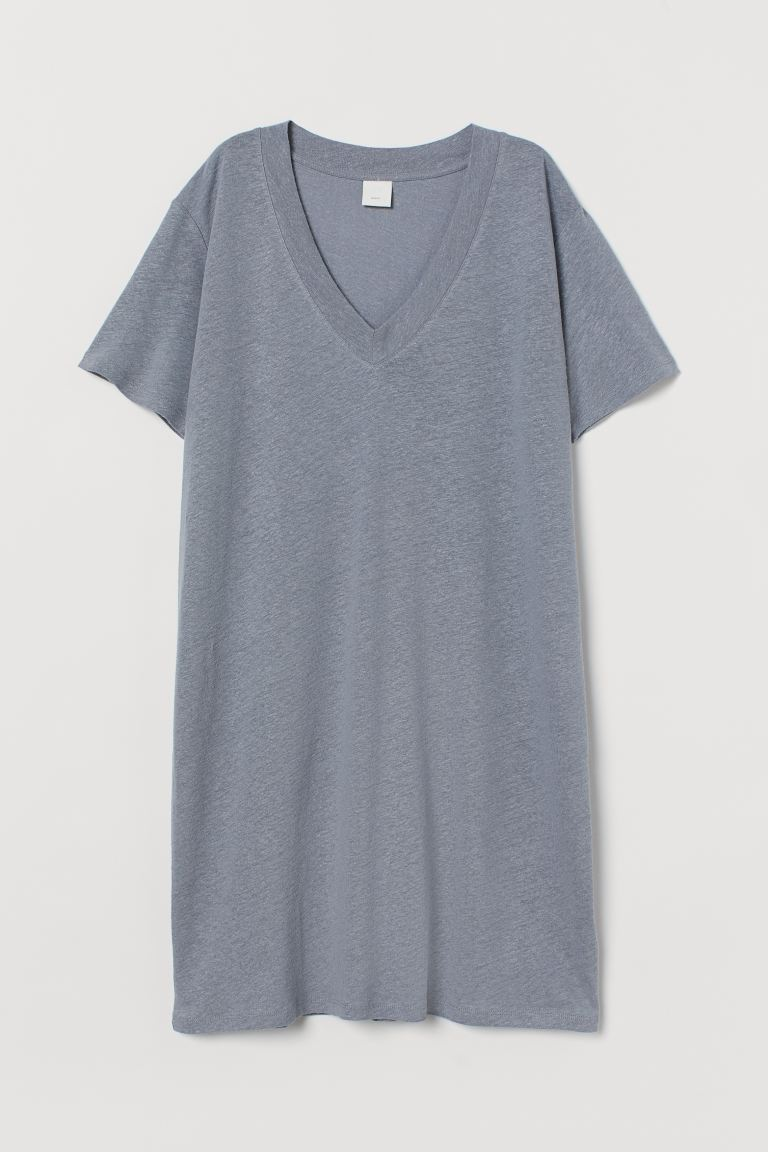 T-Shirt aus Leinenmix - Helles Graublau - Ladies | H&M AT 4