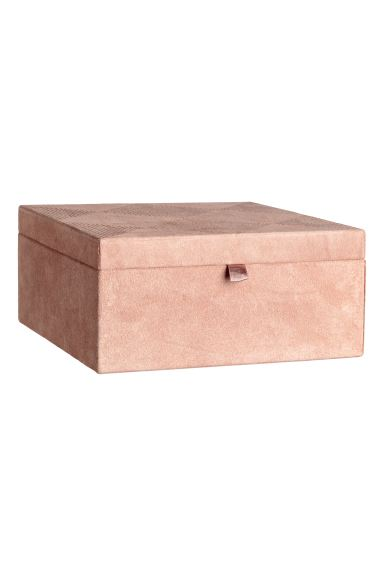 Large suede box - Powder pink - Home All | H&M IE