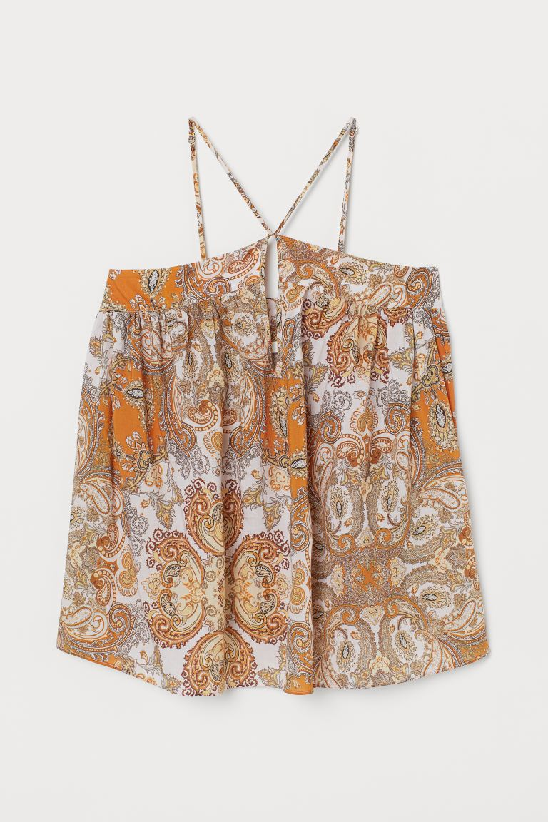 Lyocell-blend strappy top - Orange/Paisley-patterned - Ladies | H&M GB