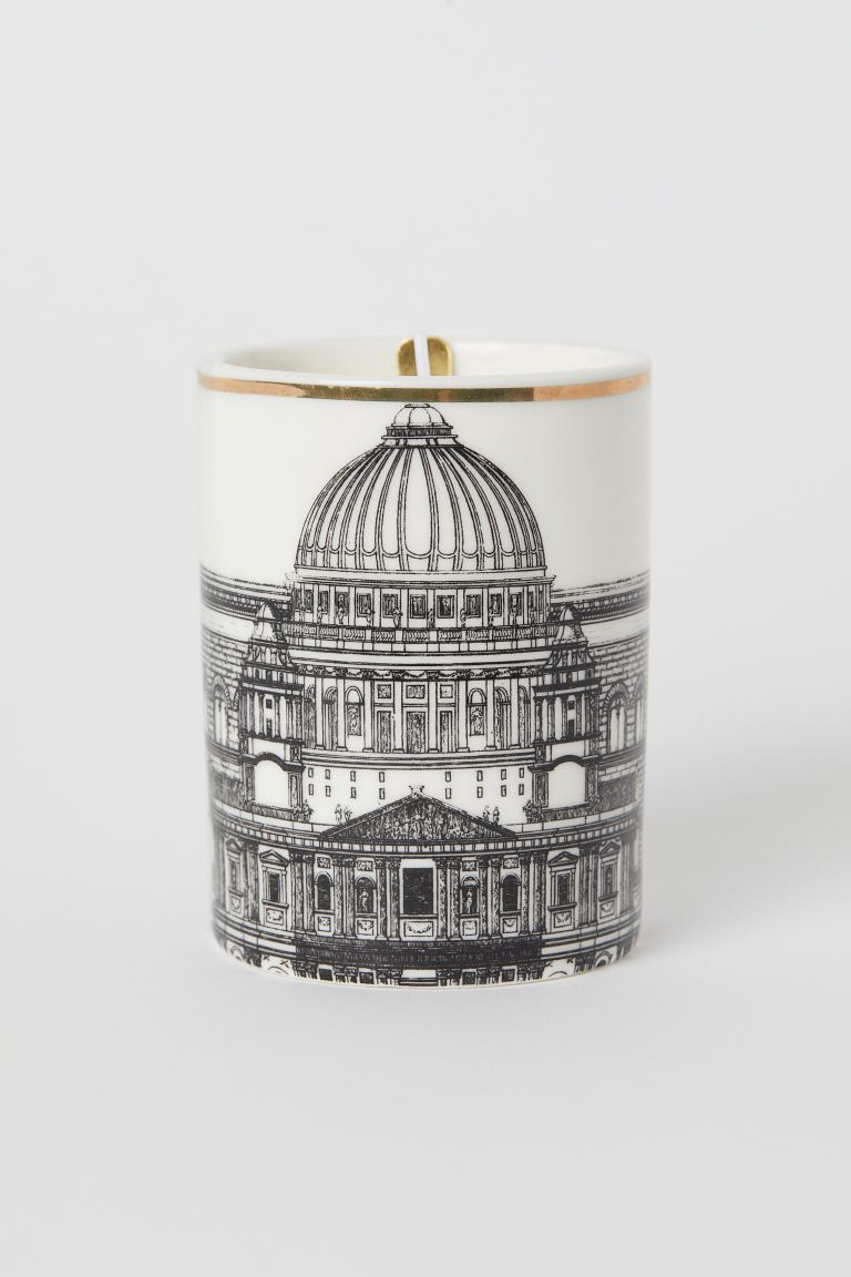 Scented candle in holder - White/Olive Leaf - Home All | H&M GB