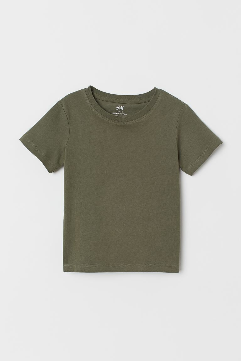 Cotton T-shirt - Dark khaki green - Kids | H&M US