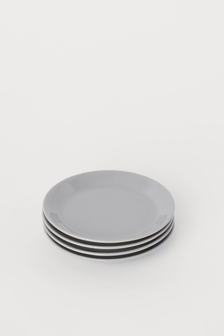 4-pack Small Ceramic Plates - Light gray - Home All | H&M US