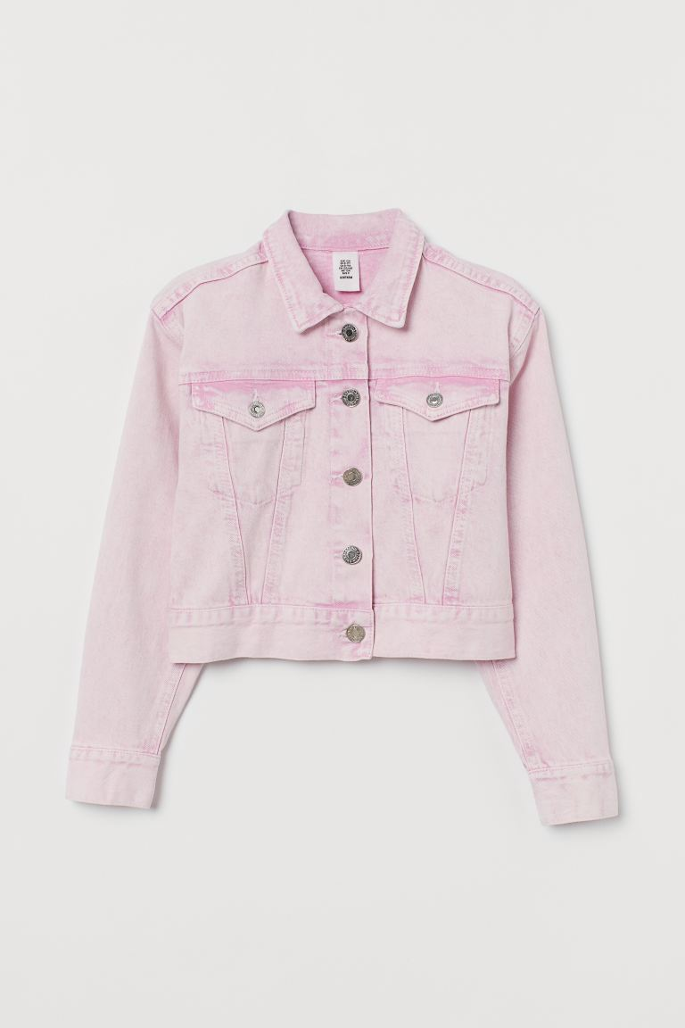 Cropped denim jacket - Light pink/Washed - Kids | H&M IE