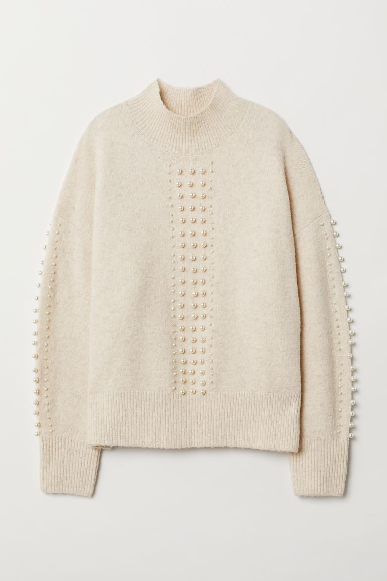 Fine-knit Sweater with Beads - Cream - Ladies | H&M US