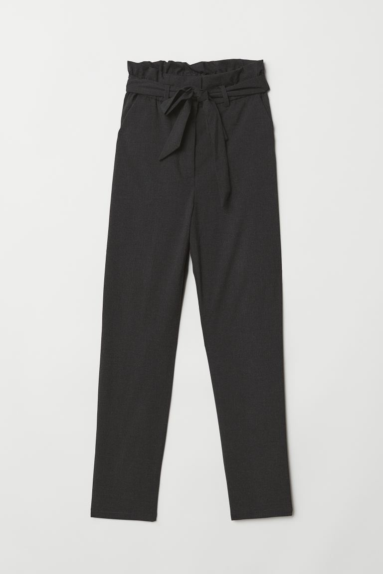Paper-bag Pants - Dark gray melange - Ladies | H&M US
