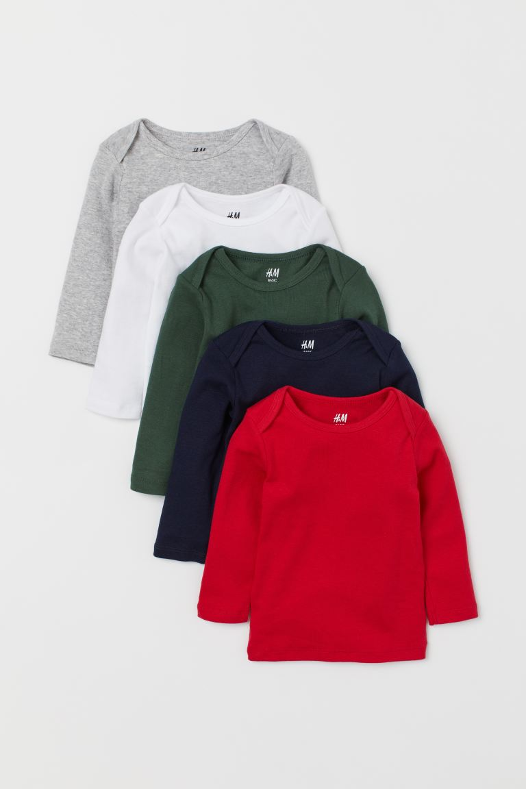 5-pack jersey tops - Red/Multicoloured - Kids | H&M IN