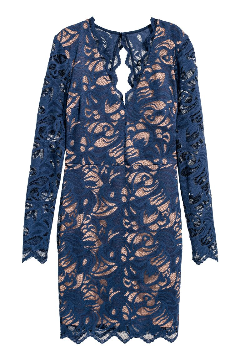 Fitted lace dress - Dark blue - Ladies | H&M