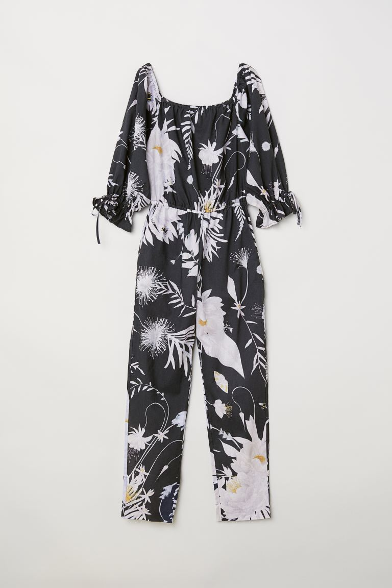 Off-the-shoulder jumpsuit - Dark grey/Patterned - Ladies | H&M
