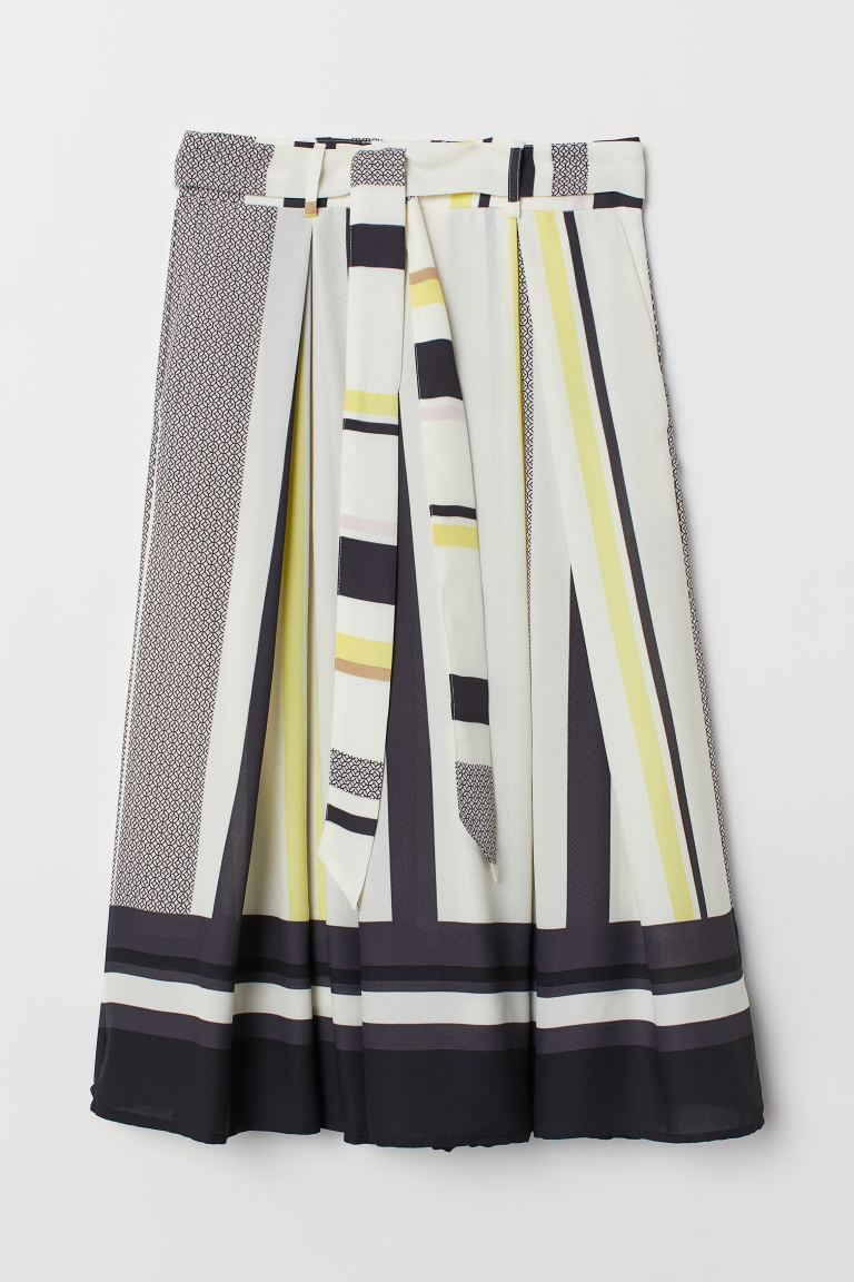 Skirt with Tie Belt - Cream/multicolored stripes - Ladies | H&M US