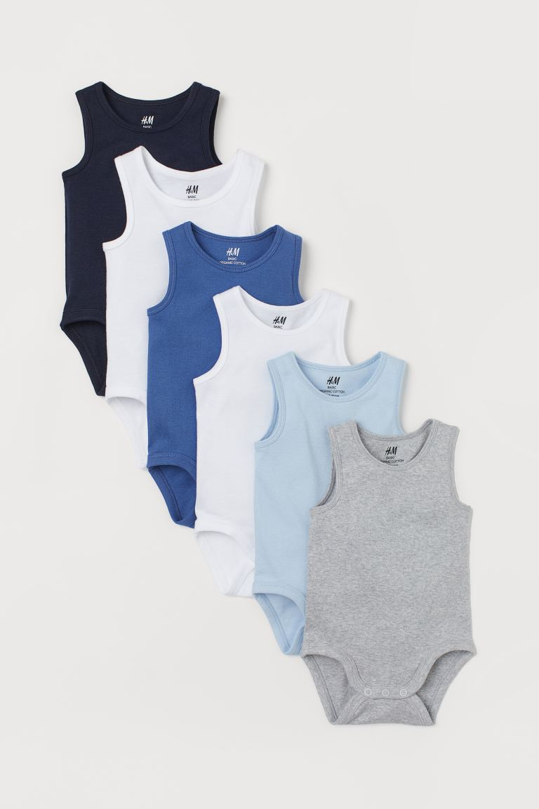 6-pack ermeløs body - Mørk blå/Flerfarget - BARN | H&M NO