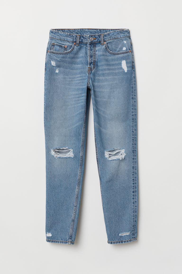 Boyfriend Low Ripped Jeans - Niebieski denim - ONA | H&M PL