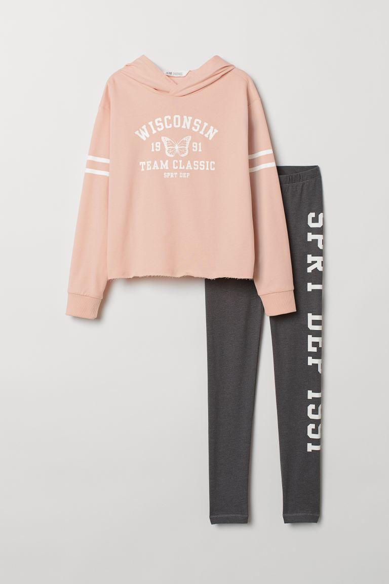 Hooded top and leggings - Powder pink/Dark grey marl - Kids | H&M GB