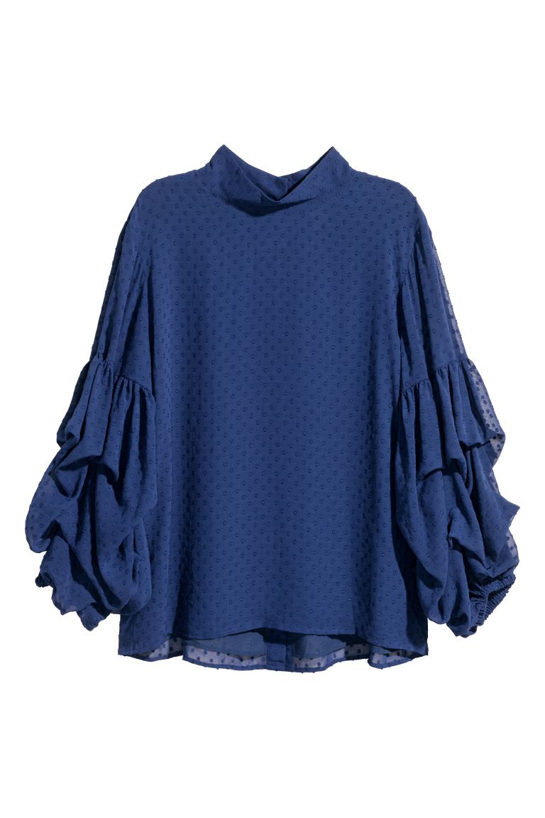 Wide plumeti blouse - Dark blue - Ladies | H&M GB
