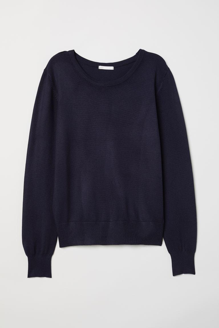 Fine-knit jumper - Dark blue - Ladies | H&M GB