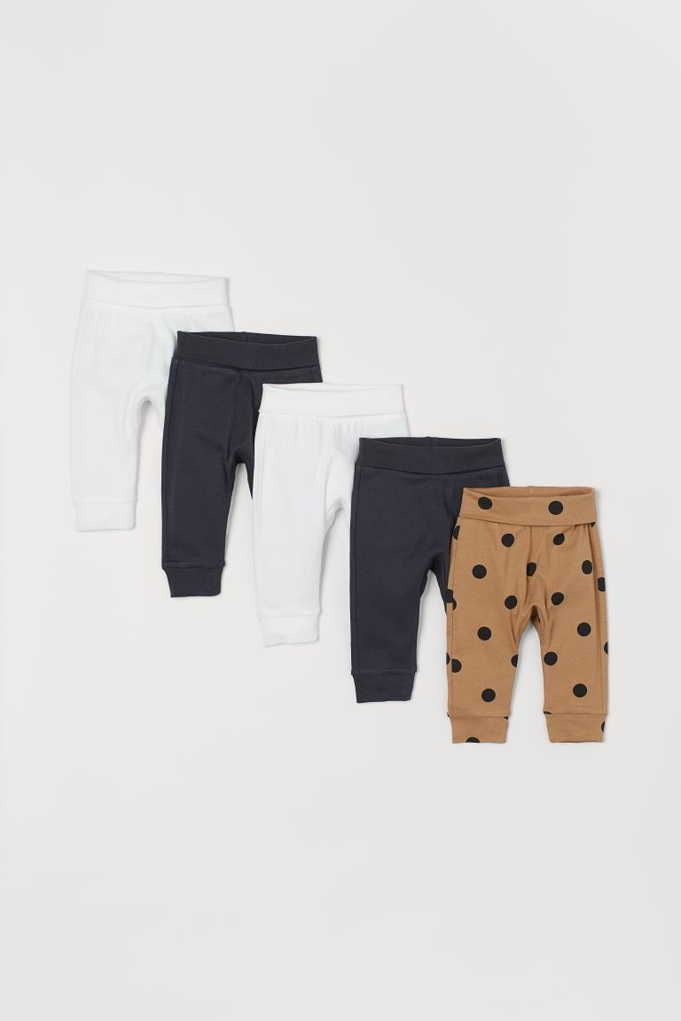 5-pack Cotton Pants - Dark beige/dotted - Kids | H&M US