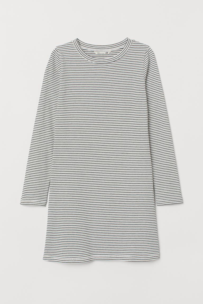 Ribbed dress - White/Blue striped - Kids | H&M GB
